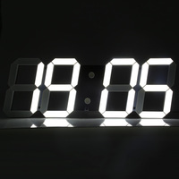 Large LED Digital Wall Alarm Clock Modern Design Home Decor 3D LED Clock Big Decorative Watch White Black Living Room Bedroom