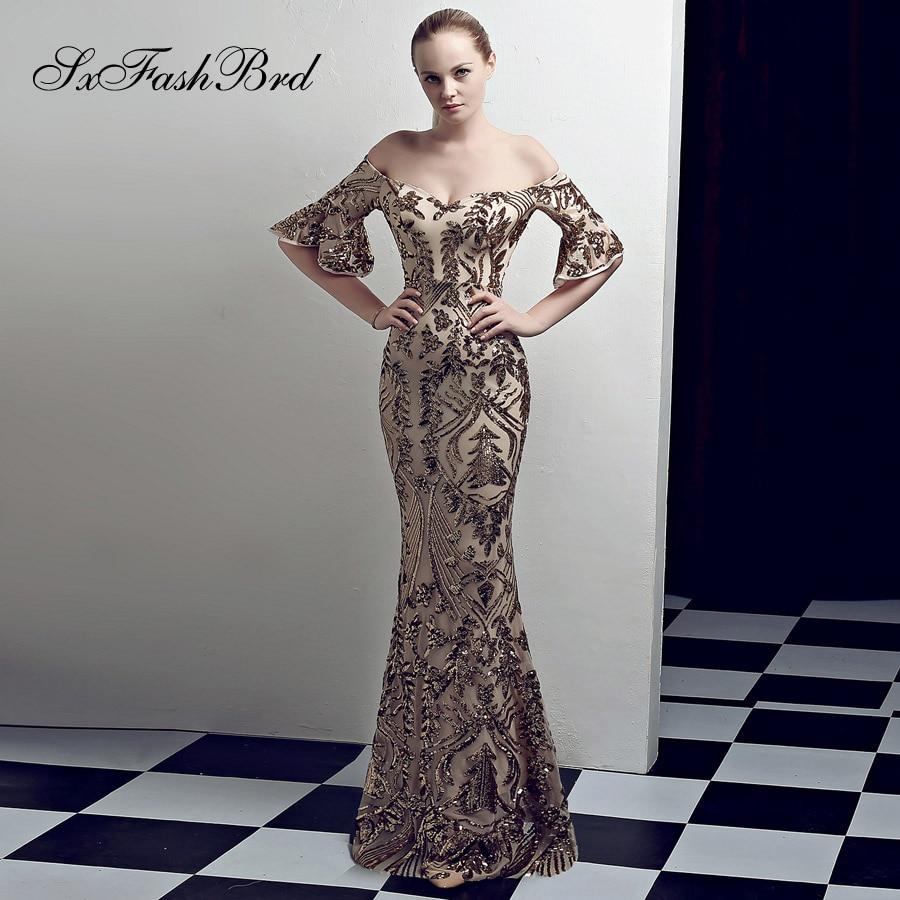 Abiti Da Cerimonia Donna Fashion Robe Longue Sweetheart Half Sleeves Mermaid Long Party Women Evening Dress Sequin Prom Dresses