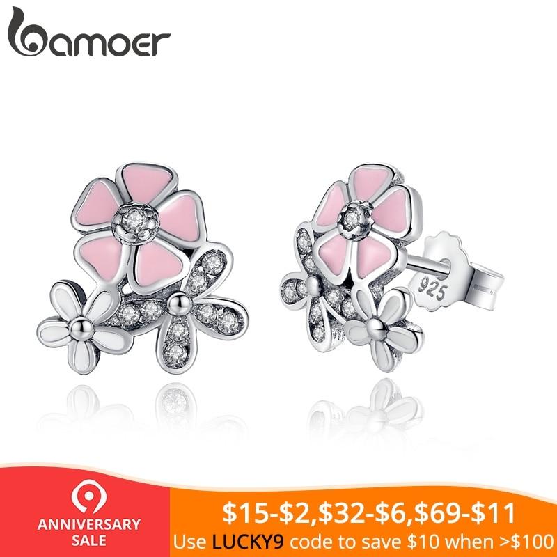 925 пробы серебро поэтический ромашка Cherry Blossom Висячие серьги смешанные и ясно CZ розовый цветок для женщин юбилей распродажа 2018 PAS461