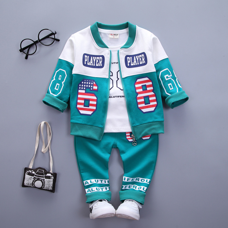 New Kids Suit Fall Childrens Three-piece Korean Cotton Casual for Babies and Males