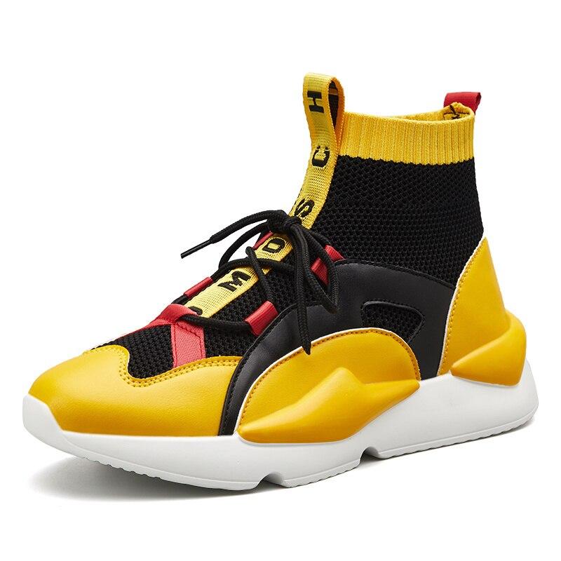 Cuir véritable mode toile chaussette chaussures femmes Ins chaussures de luxe chaudes femmes Designers plate-forme baskets