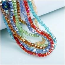 Glass-Beads Square-Shape Juleecrystal Loose Wholesale Multicolor 4mm 95PCS