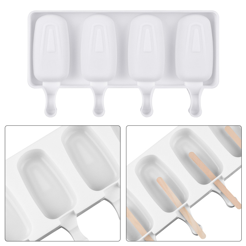 2019 New Ice Lolly Moulds Freezer Ice Cream Bar Molds Maker With Popsicle Sticks Homemade Food Grade Silicone Ice Cream Molds