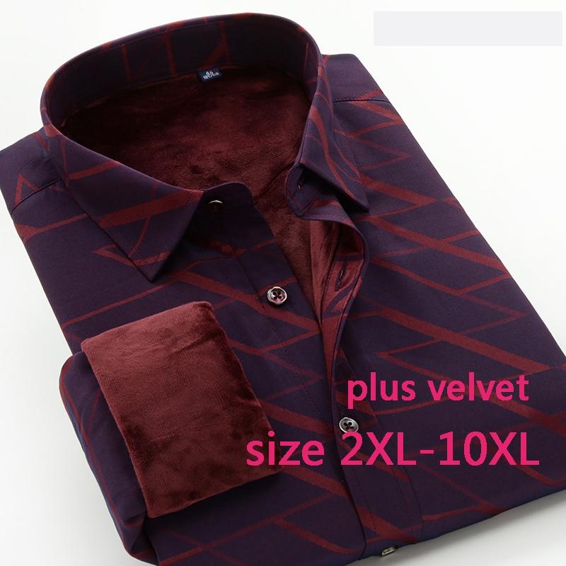 Nouveauté hiver Plus velours mode épais chaud de haute qualité hommes chemises à manches longues Super grand obèse taille Xxl-8xl 9xl 10xl