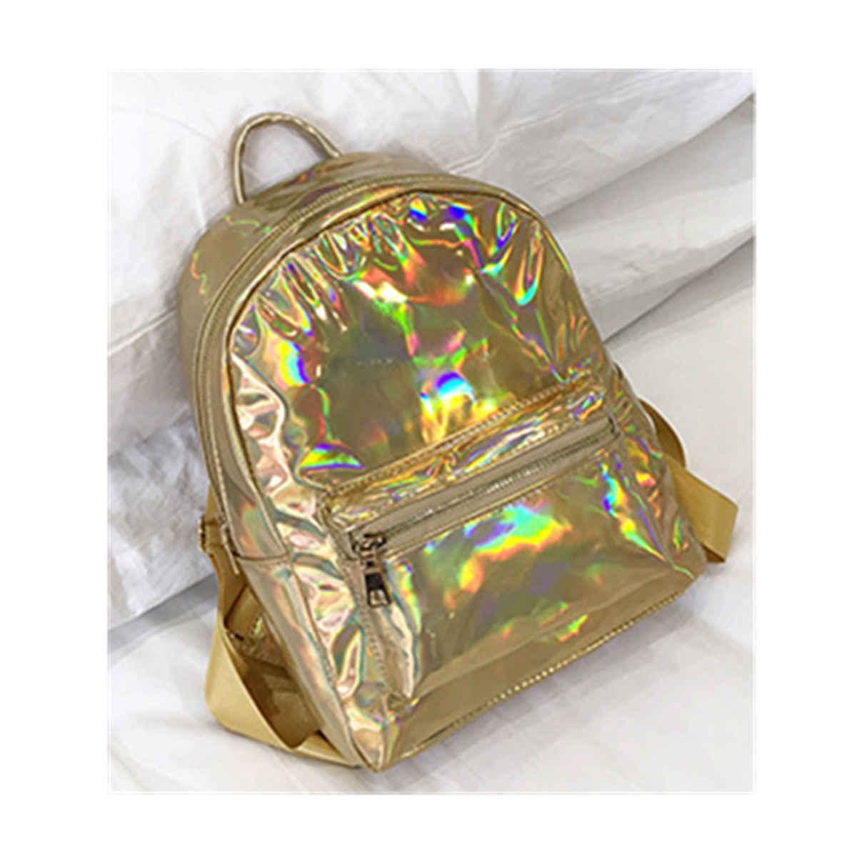 2018 Yeni Kadın Holografik Gama Işını Hologram Sırt Çantası omuzdan askili çanta Seyahat Okul Çantası