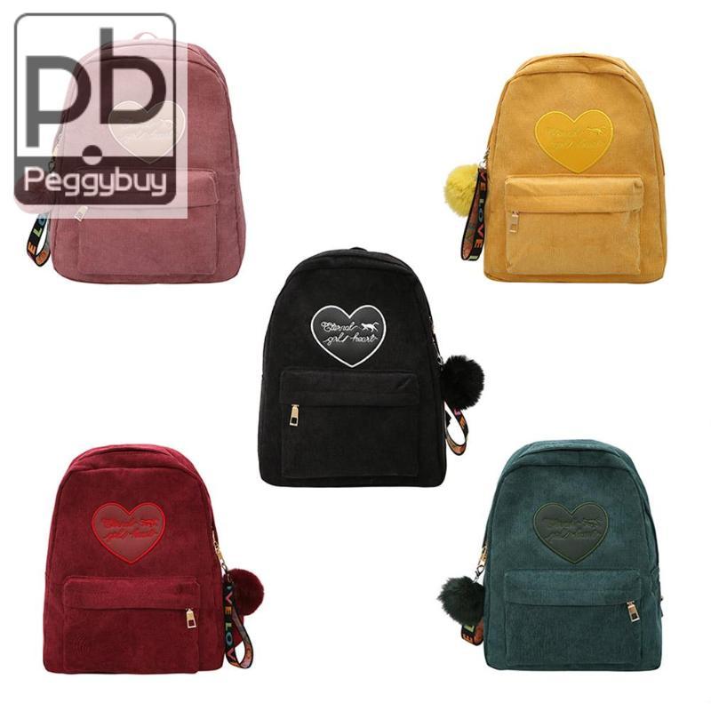 Women's Bags Vintage Women Corduroy Backpack Preppy Style Hair Ball Shoulder Travel School Backpack Mochilas Mujer 2019 Buy Now