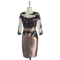 Pink Mother of the Bride Dresses Appliqued 3/4 Sleeve Evening Gowns Knee Length Sheath Dress with Jacket