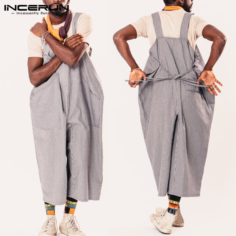 2019 Men Women Rompers Stripe Overalls Wide Leg Pants Dungarees Casual <font><b>Jumpsuits</b></font> Long Trouser Femininas <font><b>Hombre</b></font> Unisex Garment image