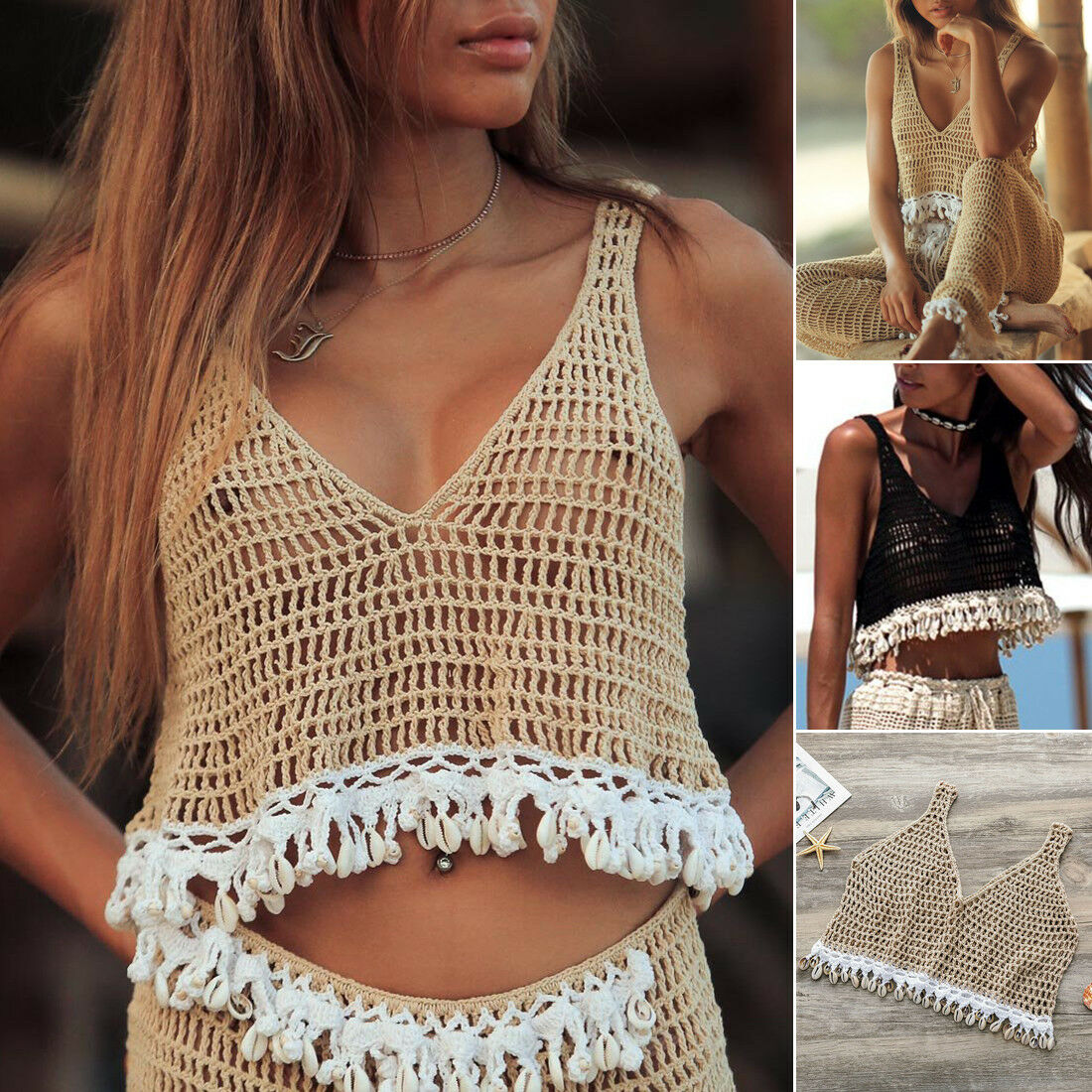 Women's <font><b>Crochet</b></font> Lace <font><b>Crop</b></font> <font><b>Top</b></font> <font><b>Sexy</b></font> Vest Fashion Tassel Cami Sleeveless <font><b>Top</b></font> Summer Beachwear Camis image