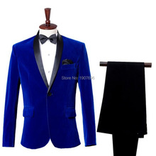 Royal blue Velvet Mens Suit Shawl Lapel 2 Piece Suits Groom Tuxedos Slim Fit Wedding Evening Blazer Single Breasted Jacket Pants lapel collar single breasted metallic blazer