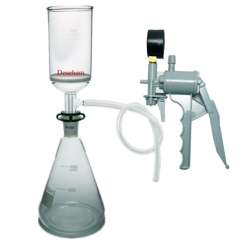 1000 ml, di Aspirazione Unità di Filtrazione, 350 ml Buchner Imbuto, 1L Flask & Mano Pompa A Vuoto-in Imbuto da Articoli per scuola e ufficio su  Gruppo 1