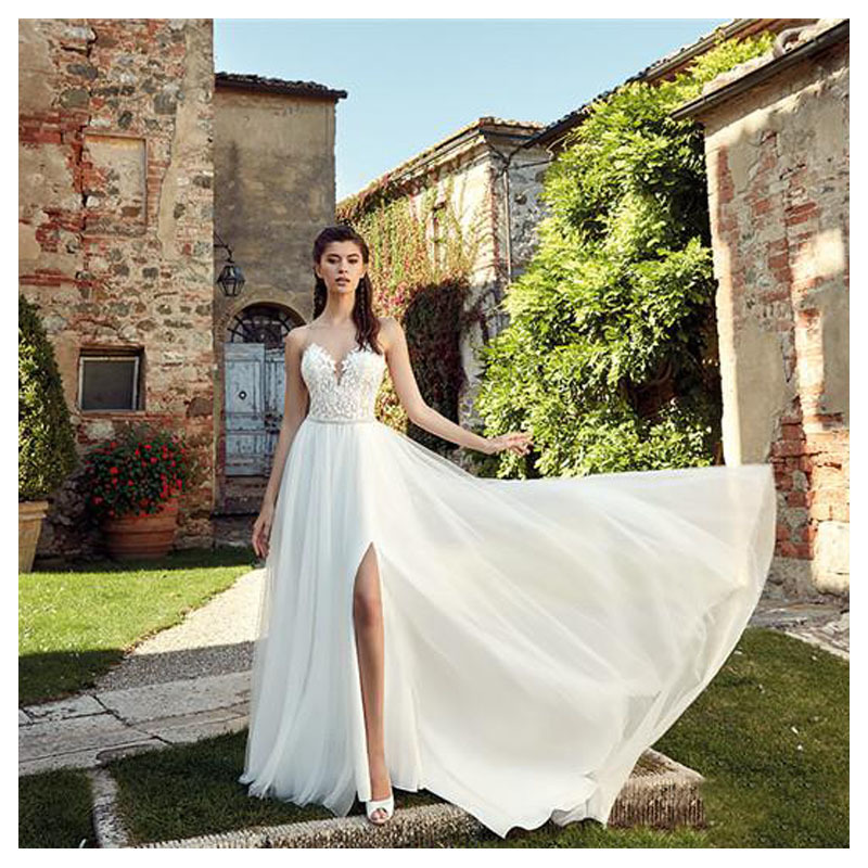 Eightale Boho Wedding Dress 2019 Appliqued Sexy See Through Neck Tulle A-line Sexy Backless Beach Bride Dress Sexy Wedding Gown