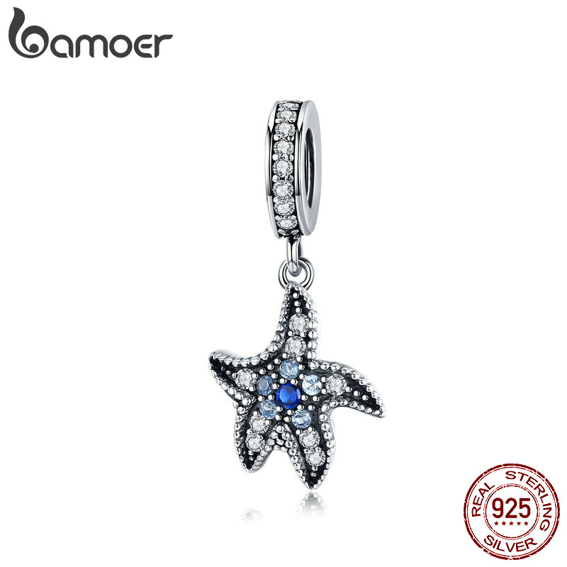 BAMOER Silver Pendant for Necklace Sea Collection 925 Sterling Silver Starfish Charm Fit Original Bracelet and Bangles SCC1156BAMOER Silver Pendant for Necklace Sea Collection 925 Sterling Silver Starfish Charm Fit Original Bracelet and Bangles SCC1156