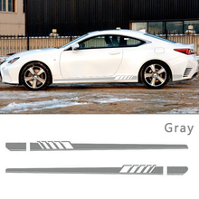 1pair Universal Car Side Stripes Stickers Racing Sports Styling Vinyl Body Sticker Black White Gray