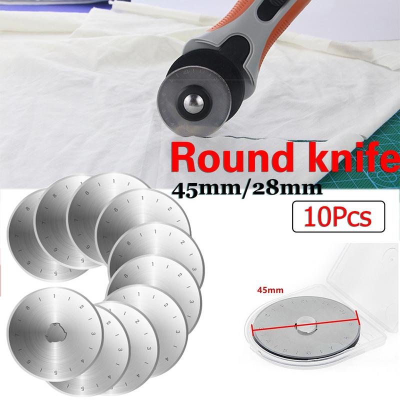 10pcs Replacement Rotary Cutters 28MM//45MM Steel Circular Rotary Refill Blades for Patchwork Fabric Craft Sewing Quilting