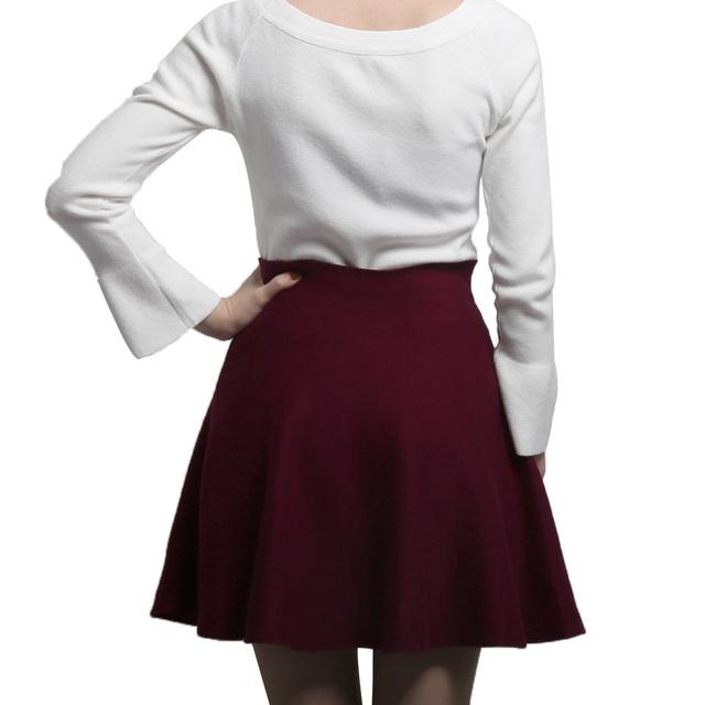 Elegant High Waist Pleated Skirts 2018 Autumn Solid Elastic Skirts Korean Spring Knitted Wool Mini Skirt Jupe Femme Faldas Mujer