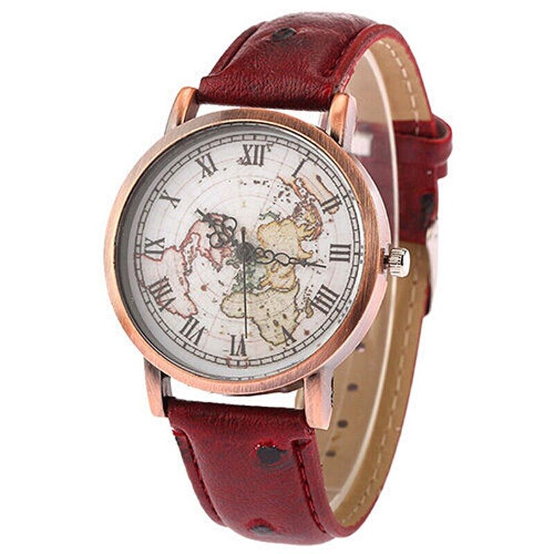 Shellhard Vintage Womens Map Dial Leather Watch 3 Colors Earth Map Leather Band Roman Numbers Analog Quartz Wrist WatchShellhard Vintage Womens Map Dial Leather Watch 3 Colors Earth Map Leather Band Roman Numbers Analog Quartz Wrist Watch