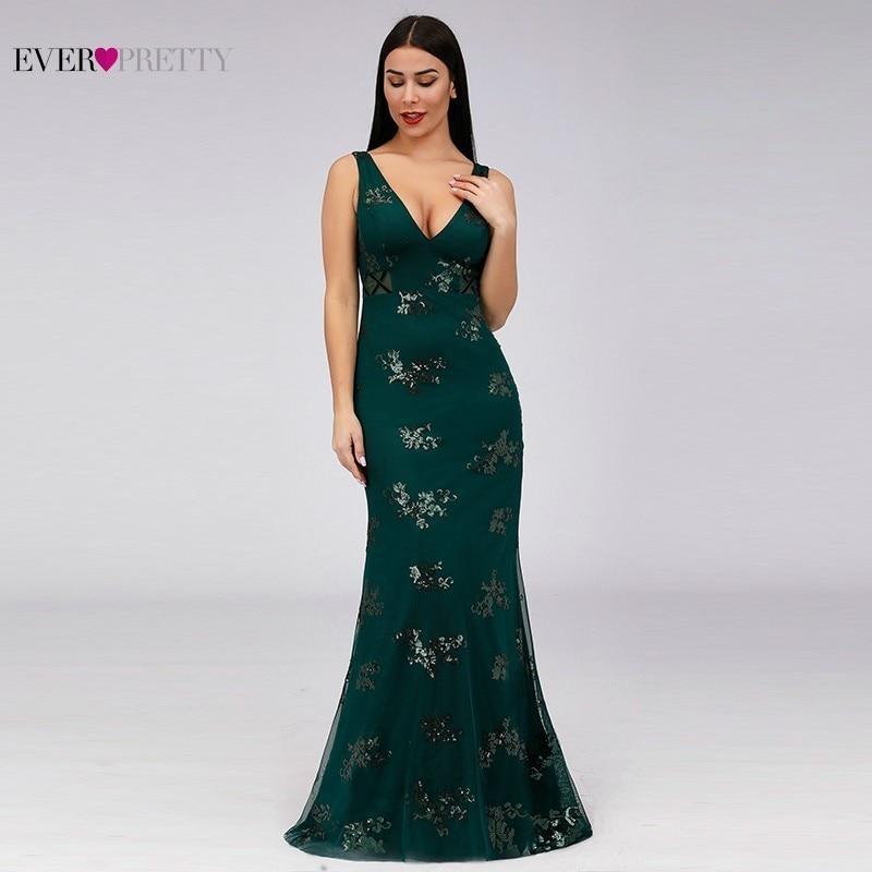 Vintage Evening Dresses Long Ever Pretty EP07893DG V-Neck Sequined Sleeveless Mermaid Formal Dresses 2020 Elegant Party Gowns