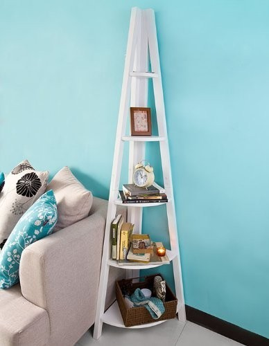 Ladder Style Shelving Storage Display Units & Desk Wall Shelf Bookcase SoBuy FRG20 W