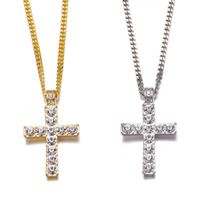 1PC Women Charm Jewelry Hip Hop Alloy Golden Silver Cross Pendant Necklace Iced Out Rhinestone Tone Crucifix Drop Shipping цена в Москве и Питере