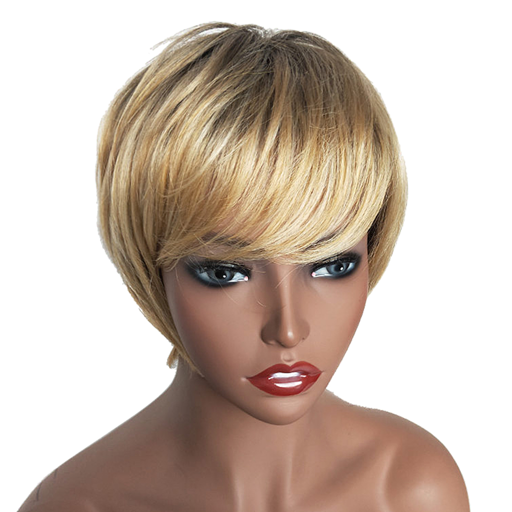 Natural Short Bob Wigs Human Hair Pixie Cut Wig for Women w/ Bangs 8 inch Gold стоимость