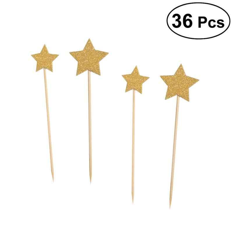 36 piezas brillo estrella pastel Topper postre pastel Insertar tarjeta cumpleaños fiesta pastel decoración bebé ducha suministros (oro)
