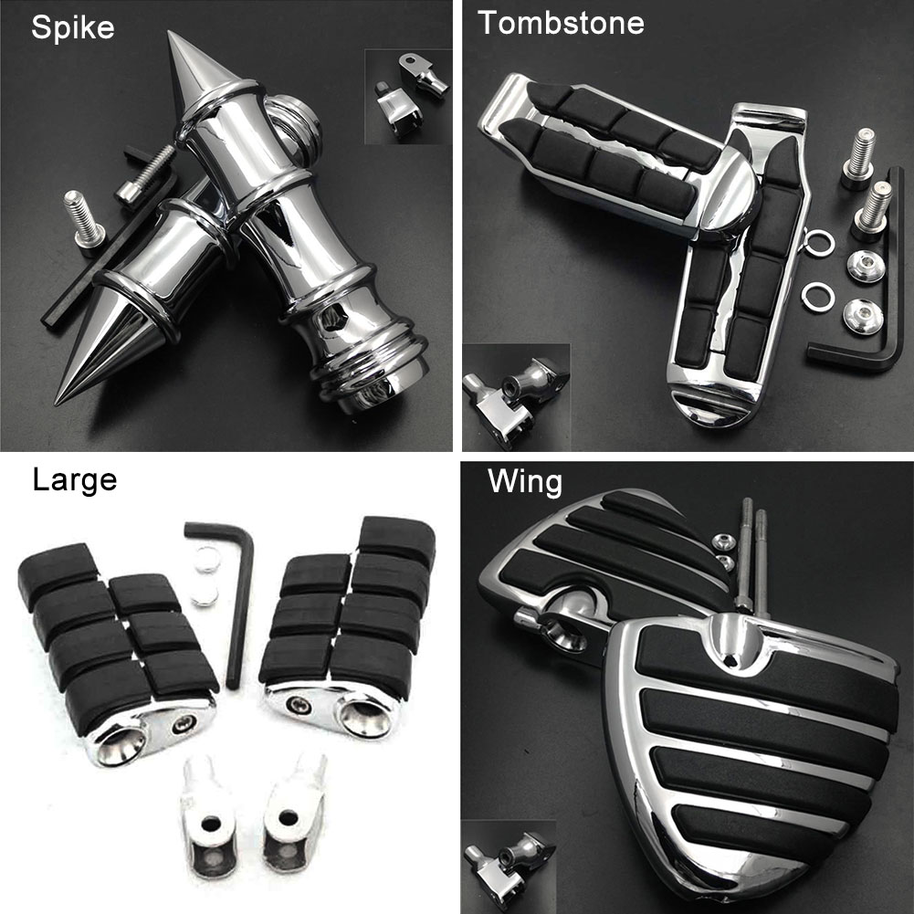 Large Front Foot Pegs fit For 2009-2015 10 11 <font><b>12</b></font> <font><b>13</b></font> 14 Honda Fury VT1300CX Tombstone footpeg Rest Pedal Billet Rubber Motorcycle image