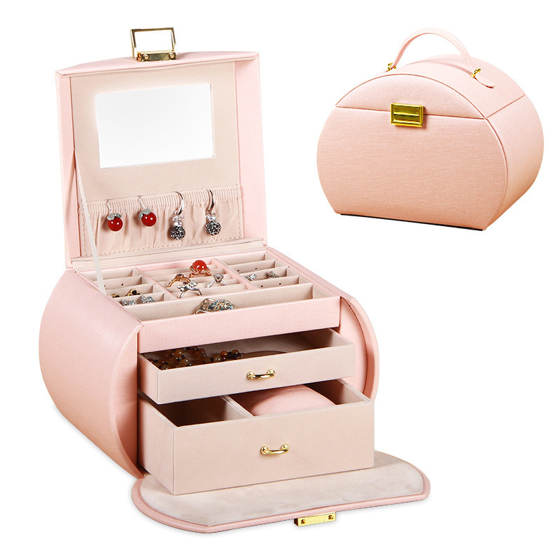 Boîte à bijoux automatique en cuir boîte de rangement à trois couches pour femmes boucle d'oreille anneau cosmétique organisateur cercueil pour décorations