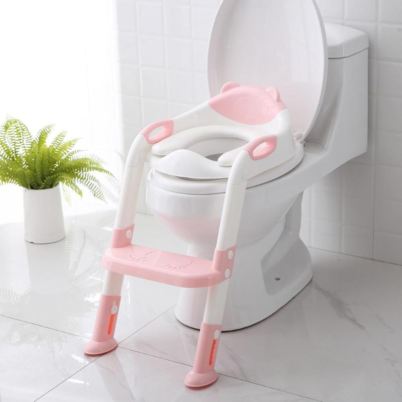Folding Baby Potty Infant Kids Toilet Training Seat With Adjustable Ladder Comfortable Backrest Cartoon Cute Pot