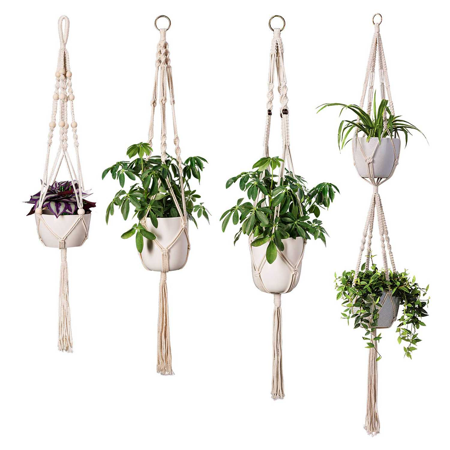 Fence Plant Hangers: 4 Pack Macrame Plant Hangers In Different Designs Handmade