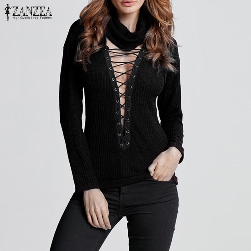 2019 ZANZEA Sexy Hollow Pullovers Women Turtleneck Knitted Sweater Female Long Sleeve Bandage Blusa Lady Pull Femme Oversized