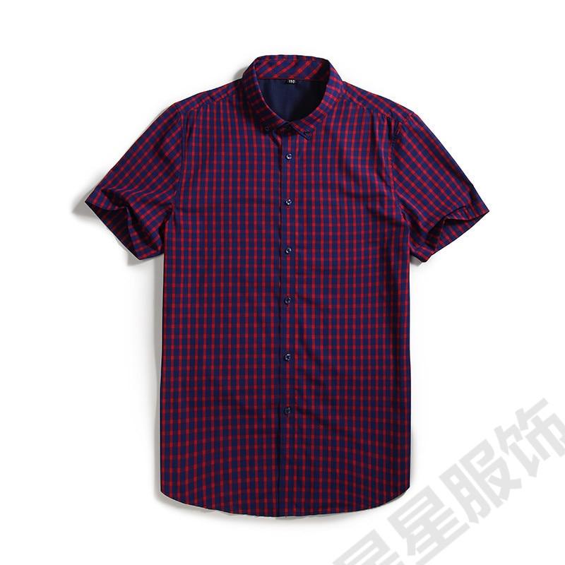 Fashion Men Plaid Dress Shirts Cotton 1