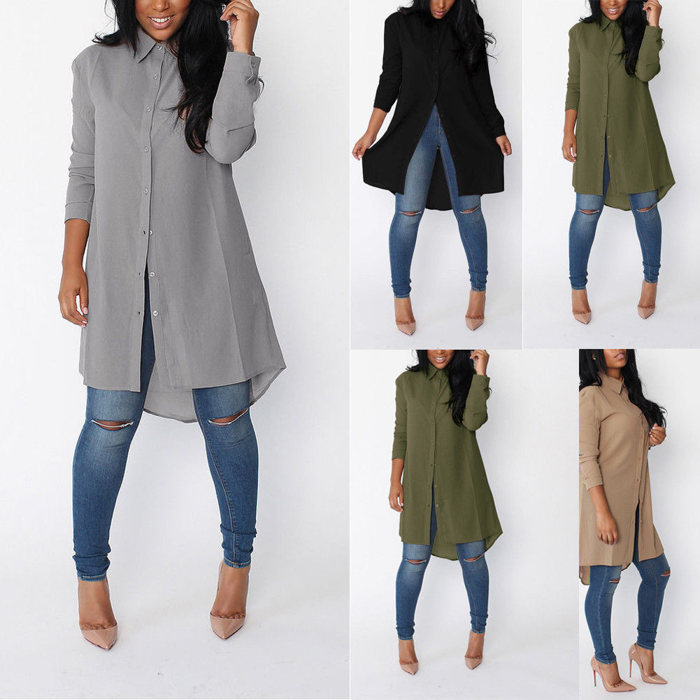 Casual Women's Long   Blouse   2018 New Lady Loose Long Sleeve Solid Button Fly Casual   Blouse     Shirt   Tops Fashion   Blouse   S-2XL