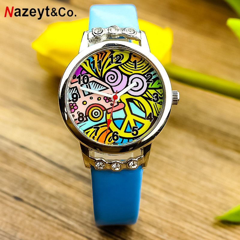 Nazeyt Free Shipping Children Graffiti Dial Quartz Watch With Diamond Best Gift For Little Girls Cute Cartoon Leather Clock 2018