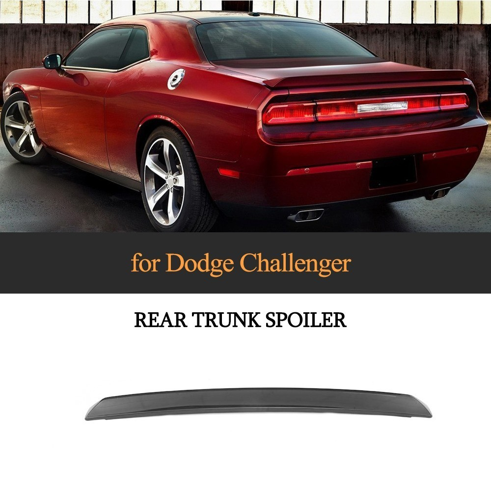 Carbon Fiber / ABS Rear Trunk Spoiler Boot Lip For Dodge Challenger 2008 - 2014 Painted With Black And White