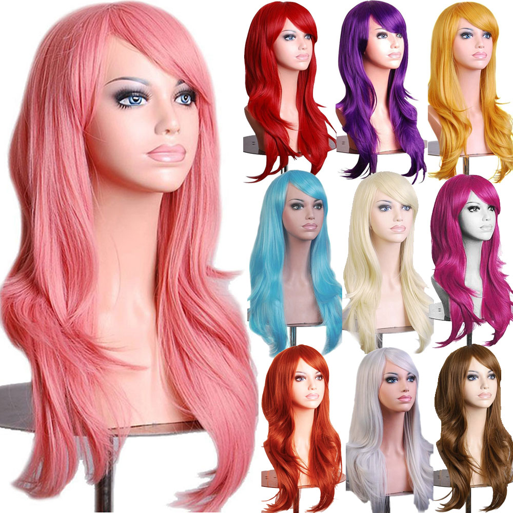 Synthetic Wigs Hair Extensions & Wigs Generous 100 Cm Wig Curly Women Hair Wigs Long Pink Wig Yellow Heat Resistant Synthetic Wigs Woodfestival