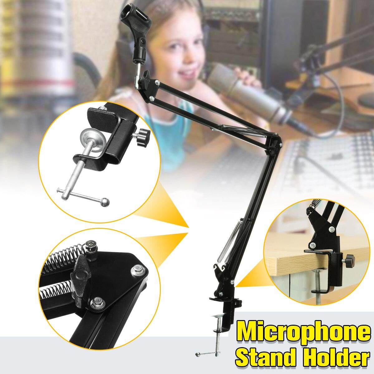 Neue Hohe Qualität Einstellbare Aufnahme Mikrofon Ständer Halter Clip Mic Suspension Boom Tisch Halterung Mit Shock Mount