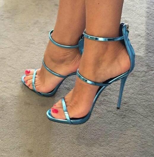Moraima Snc bleu miroir en cuir trois-sangle bout ouvert talon aiguille sandales été Sexy femme chaussures à talons hauts découpes parti talons