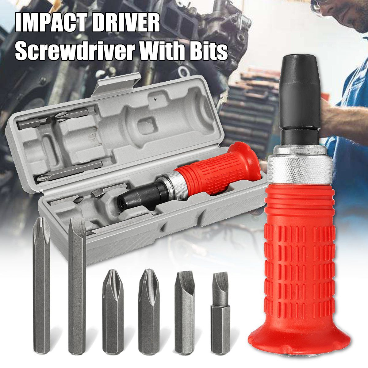 Impact Screwdriver Driver Set Carbon Steel Multi Bits Hammer Socket Repair Tools Kit Storage Box Screwdriver Head SetImpact Screwdriver Driver Set Carbon Steel Multi Bits Hammer Socket Repair Tools Kit Storage Box Screwdriver Head Set