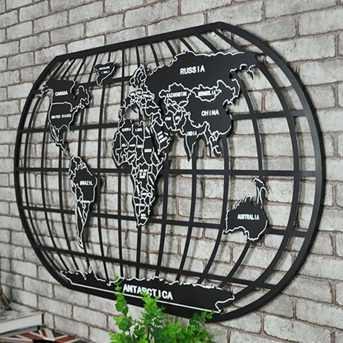 58cmX100cm Black Iron World Map Rack Art Wall Decor Wall Sculpture Office Home Coffeehouse