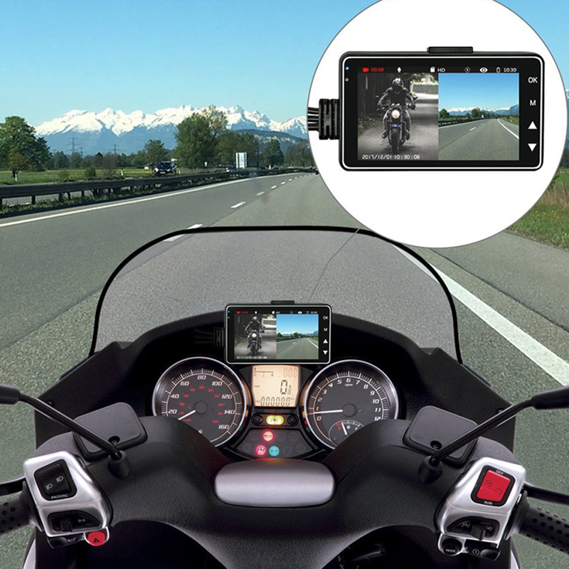 3 ''HD moto DVR double lentille 120 degrés moto conduite enregistreur avant arrière caméra boucle enregistrement