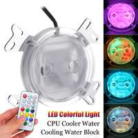 LEORY G1/4 LED Colorful Light CPU Cooler Water Cooling Water Block with Controller for Intel AM2 AM3 AM4