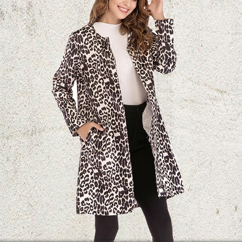 2019 Leopard Print Sexy   Trench   Coat For Women Fashion Casual Long Coat Oversize S-5XL
