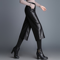 2019 New Spring Genuine Sheep Leather Office Lady Wed Leg Pants Women Fashion Calf length Pant Girls Trousers