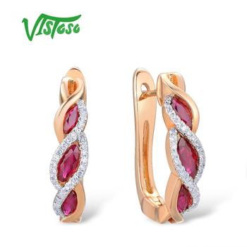 VISTOSO Gold Earrings For Women Authentic 14K 585 Rose Gold Shiny Red Ruby Sparkling Diamond Wedding.jpg 350x350 - VISTOSO Gold Earrings For Women Authentic 14K 585 Rose Gold Shiny Red Ruby Sparkling Diamond Wedding Engagement Fine Jewelry