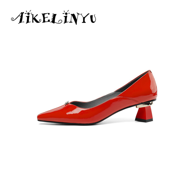AIKELINYU Spring Pumps Genuine Leather Cusp Toe Square Heel Shoes Lotus Root Starch Elegant Office Lady Pumps Women Party ShoesAIKELINYU Spring Pumps Genuine Leather Cusp Toe Square Heel Shoes Lotus Root Starch Elegant Office Lady Pumps Women Party Shoes
