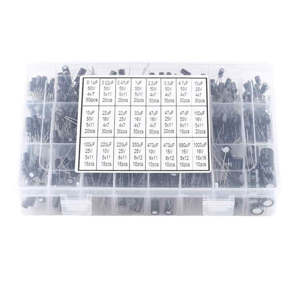 Electrolytic Capacitor 500pcs 10V ~ 50V 0.1uF to 1000uF 24 Values Electrolytic Capacitor Kit Assorted Aluminium