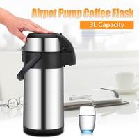 3L Vacuum Pump Action Airpot Hot/Cold Coffee Flask Catering Jug Stainless Steel with A Lock Button and Handy Carry Handle