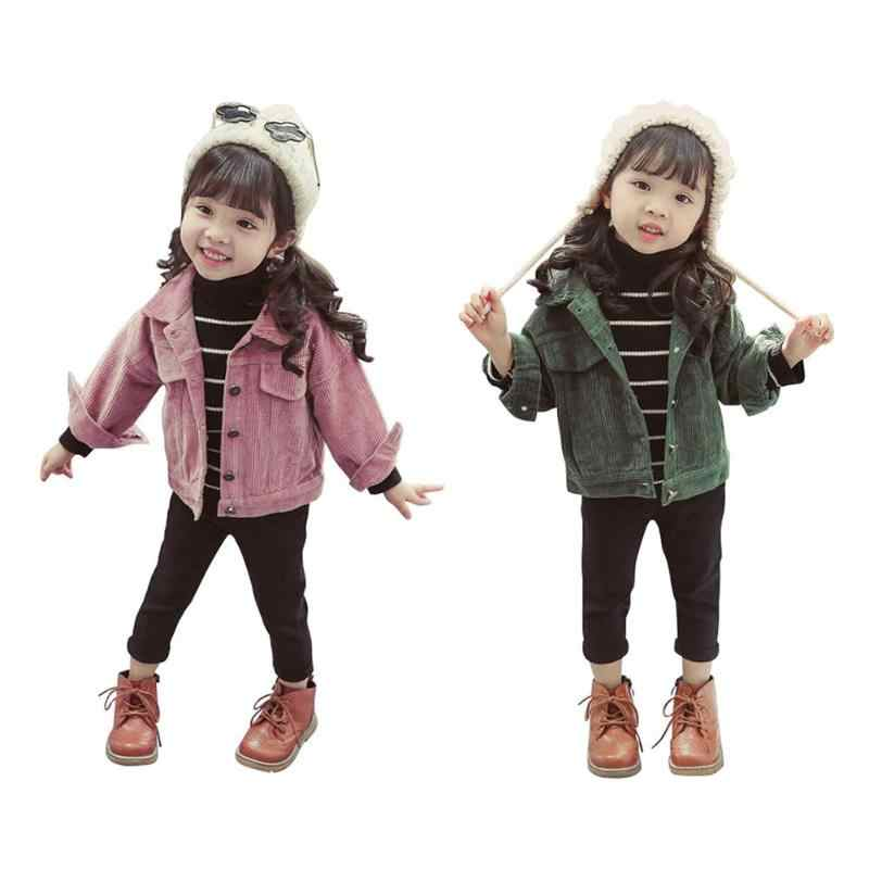 4896470caa043 Fashion Jackets Autumn Baby Girls Super Outwear Stylish Corduroy Buttons  Solid Color Children Loose Turn Down