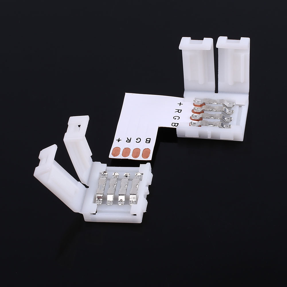 10pcs 10MM 4Pin Male LED Strip Light Lighting RGB Connector Adapter L Shape Accessorie Corner  5050 Device With Welding Head